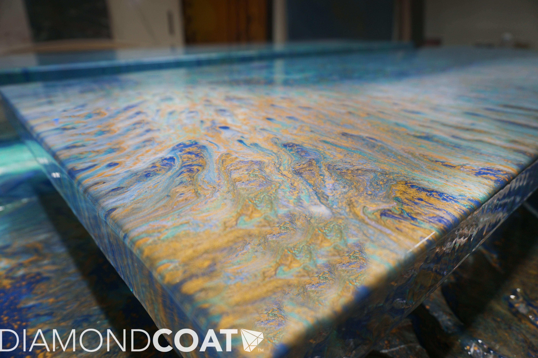 Custom Ocean Epoxy Countertops For Moab Restaurant Diamond Coat